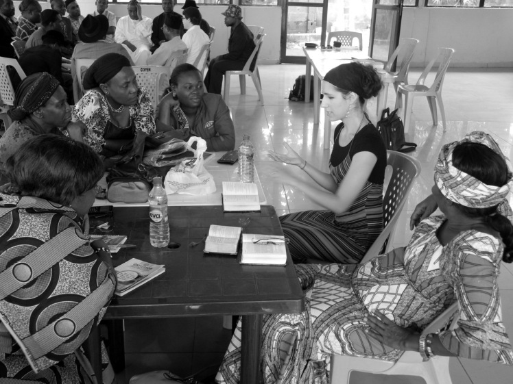 Naomi Baine during a study session with Igbo Jewish women in Abuja. Photograph - Shai Afsai